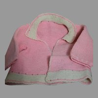 Vintage Pink & White  Doll Sweater  Tight Knit   Pretty