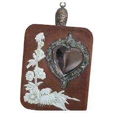 Antique Decorative Wall Hanging Wisk Broom in Pocket  Heart Mirror