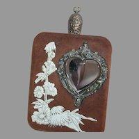 Vintage Decorative Wall Hanging Wisk Broom in Pocket  Heart Mirror