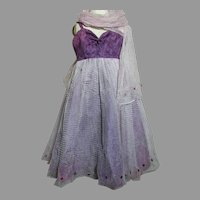 Vintage Gown Netting  over Purple Skirt Teri Lee Doll Gown