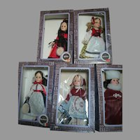 "Effanbee 5 International Doll's  in original boxes 12 "" tall"