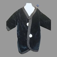Deep Blue Velvet Jacket For French Fashion or China Head Doll