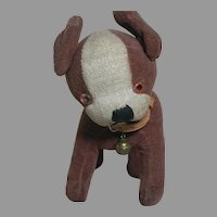 "Small Stuffed Dog with Glass Eyes Swivel Neck 5 "" tall"