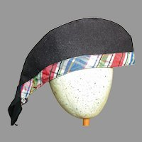 "Large Scottish Doll Hat Navy Blue with Plaid Band 10 "" long"