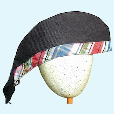 """Large Scottish Doll Hat Navy Blue with Plaid Band 10 """" long"""