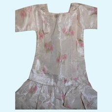Beautiful Antique French Bebe Doll Dress Soft  Pink Floral  Silk Trimmed with Lace
