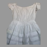 White Cotton Doll Dress for larger doll Lace Front