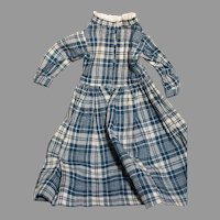 Nice Antique Doll Dress  Blue and White Plaid  13 inches long