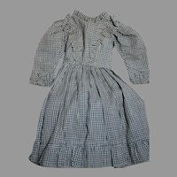 "Antique Doll Dress Blue & White Check With Ruffles  Lined top 15 ""  Nice Quality"