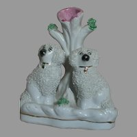 Antique Old Staffordshire Ware England Spill Vase  Poodle Dogs Figurine Confetti