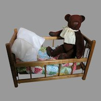 Small Wood Doll Crib  Small Doll Quilt  Brown Teddy Bear