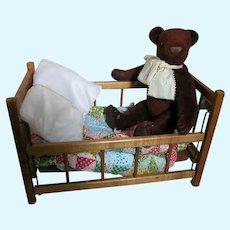 Small Wood Doll Crib  Small Doll Quilt  Brown Teddy Bear