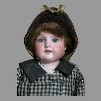 "Antique Armand Marseille Bisque Shoulder Head Kid Jointed Body  Florodora body Label 17"" tall"
