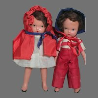 Nancy Ann Storybook Bisque  Dolls  Red Ridding Hood & School boy Both Jointed Arms & Legs