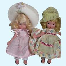Two Nancy Ann Storybook Bisque Dolls  Jointed at Arm and Legs  1940's