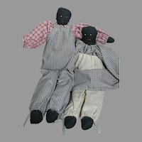 """Cloth Homemade Folk-art Black Dolls Interesting Pair in Matching Outfits  12"""" tall"""