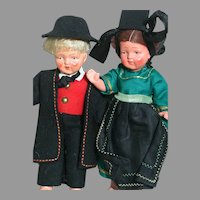 "Two German Painted bisque German Boy & Girl Dolls  All Original  6""  1930's"