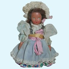 Painted Bisque Unica Belgium Small doll   Painted eyes and Original Clothes 7'  tall  1940's