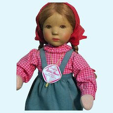 Hanne Kruse Kathe Kruse Doll With Wrist Tag  Original Outfit  foam rubber Stuffed Body 10""