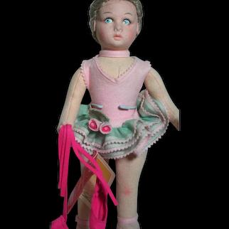 Lenci Felt Doll Ballerina Dressed in Pink Holds her Ballerina Slippers Wrist Tag  Italy