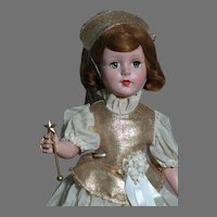 """Unmarked  Composition Doll  Fairy Godmother with A Wand    All Original  21"""" tall"""