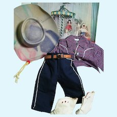 """Terri Lee  Boxed Cowgirl Doll Outfit  Hat, Shirt, Pants, Boots, Belt Box with Color Picture of Outfits 13"""" x 9"""" x3"""""""