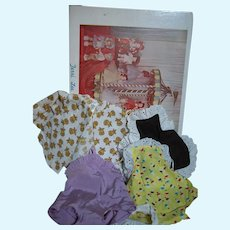 Terri Lee Doll Fashion Box with Terri Lee Jacket Swim Suit both have tags & 2 Sun Suits 1950's