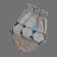 """Old Ladies Crochet Purse with a needle point scent bag  lined with Blue Silk  13"""" long"""