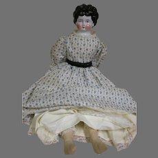 "Antique German Shoulder Head China doll  Nicely Dressed 18"""