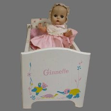 Vogue  Ginnette Doll Crib Bed and a Ginnette Baby Doll in original Outfit