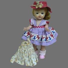 Storybook  Muffie Doll  Walker  Two Dresses  wears Hat 1950s