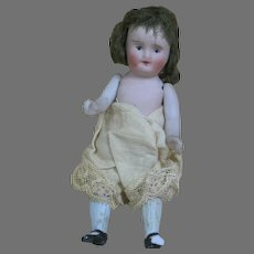"""Nippon All Bisque Doll  Painted Features  Jointed  Original Wig  5"""""""