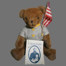 """Colonel Teddy The Teddy Roosevelt bear with flag & Booklet 14"""" sitting"""