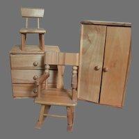 Vintage Strombecker  Wood Ginny Doll Furniture Wardrobe Dresser Chair Rocker