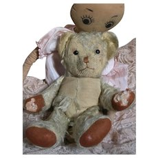 """Old Teddy Bear with Rag Doll   Bear has shoe button eyes and is Jointed 12"""" Rag 20"""""""