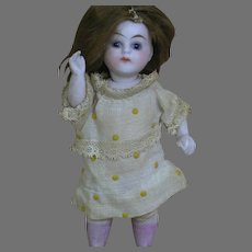 German All-Bisque Doll Swivel Neck  Jointed Body  Marked 147-9  4 inches tall