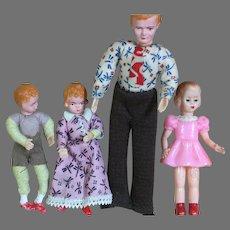 "Vintage Posable Dollhouse Miniature German CACO Family Dad Boy & Girl 3-1/2 to 6"""