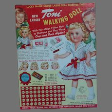 Lucky Name Card for Toni Walking Doll  4-1/2 inches by 6 inches  1950s