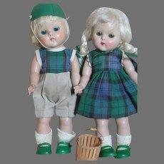 "Two Vogue Ginny Dolls  Strung Boy & Girl  Dolls original Outfits   1950 s 8 """