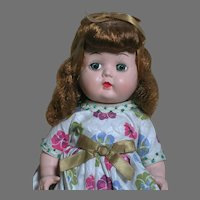 """Hard Plastic Walking Doll all Original  10 """" tall  1950s"""