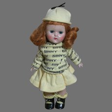 Vogue Ginny  Doll Hard Plastic Walker Rain Or Shine Series  tagged Outfit   8 inches   1950s