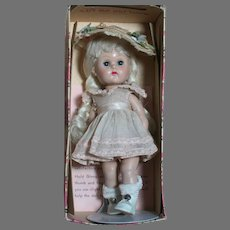 """Vogue Ginny Walker  Doll In Dressed Box  Blonde  tagged Outfit    1950's  8 """" Tall"""