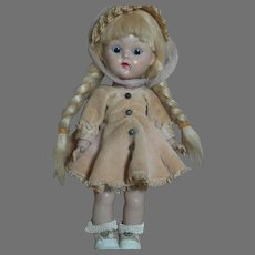 """Vogue Ginny Walker Doll Tagged Outfit  Blonde braids  1950s   8"""""""