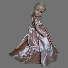 "Madame Alexander Cinderella Doll Hard Plastic Beautiful Doll  Pink Satin Dress 14""  1950's"