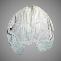 White Cotton Woman's  Victorian  blouse  Pleats, Lace, Draw string at waist