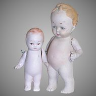 "Two Tiny German All-Bisque Hertel Schwab Dolls 2-3"" tall"