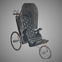 "Black Three Wheel Leather Doll Buggy or Carriage 24"" x 24"" x 16"" Vintage"