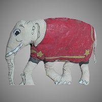 "Vintage Small Cloth Circus Elephant Oil Cloth Colors 8"" x 6"""