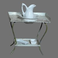 """Antique Doll House Tin Wash Stand with Porcelain Water Pitcher & Bowl  & 2 Porcelain Trays   Tin Stand  3-3/4 """" X 4'"""