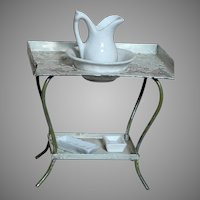 "Antique Doll House Tin Wash Stand with Porcelain Water Pitcher & Bowl  & 2 Porcelain Trays   Tin Stand  3-3/4 "" X 4'"